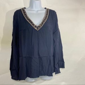 Skies are blue | Beaded Collar Blouse Size M